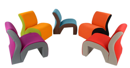 TWO TONE CURVED RECEPTION SEATS – VINYL